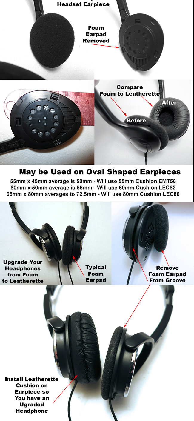 Leatherette Headphone Cushions for most sizes of Headphones and Headsets